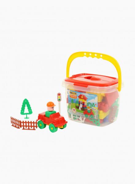 Bucket with bricks, 52 pcs