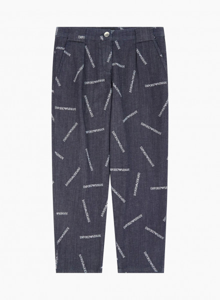Cropped trousers with logo band