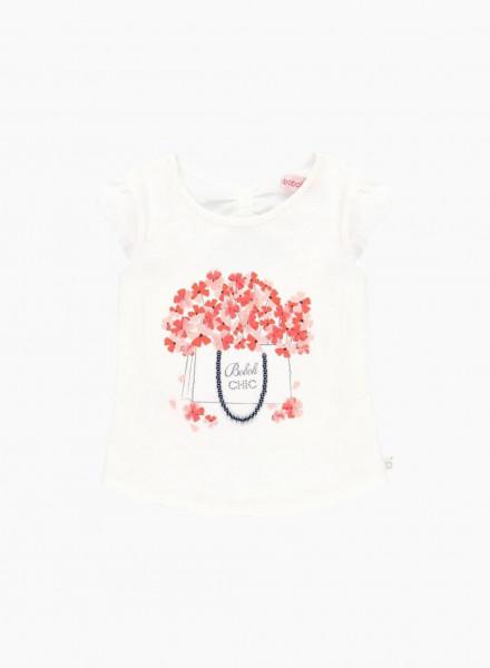 Блузка с цветочной аппликацией