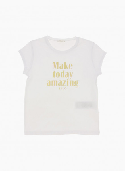 """Short sleeved T-shirt with """"Make today amazing"""" lettering"""