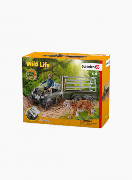 """Set of figurines """"Quad bike with trailer and ranger"""""""