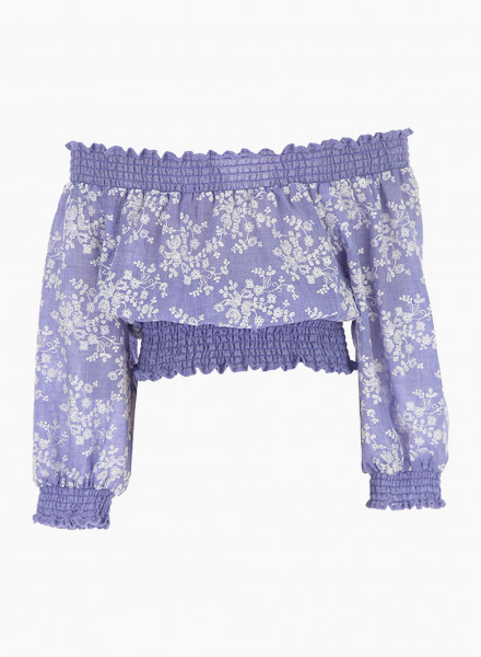Cropped blouse with embroidered flowers