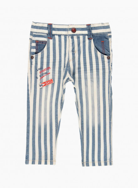 """Striped trousers with """"A new adventure is waiting"""" lettering"""