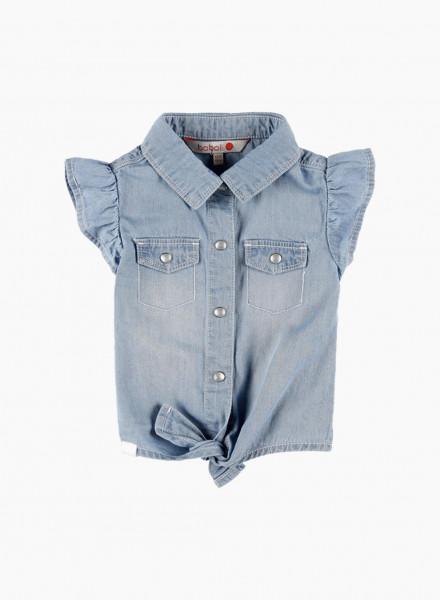 Knot front denim shirt