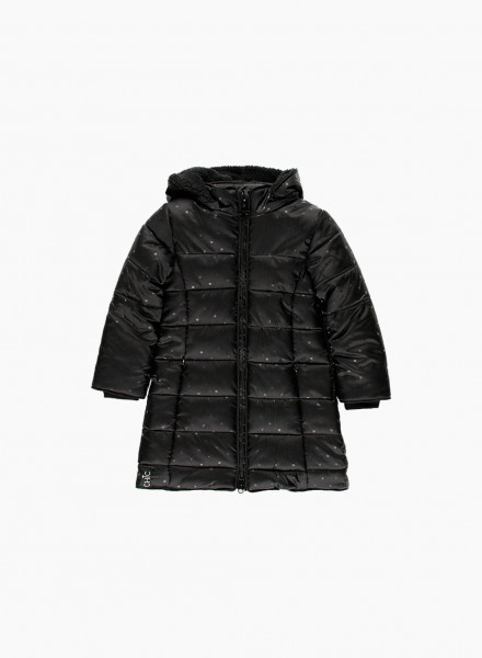 Long parka with sequined polka dots