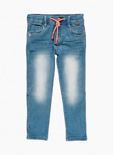 Drawstring denim trousers