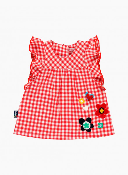 Checkered dress with embroidered flowers