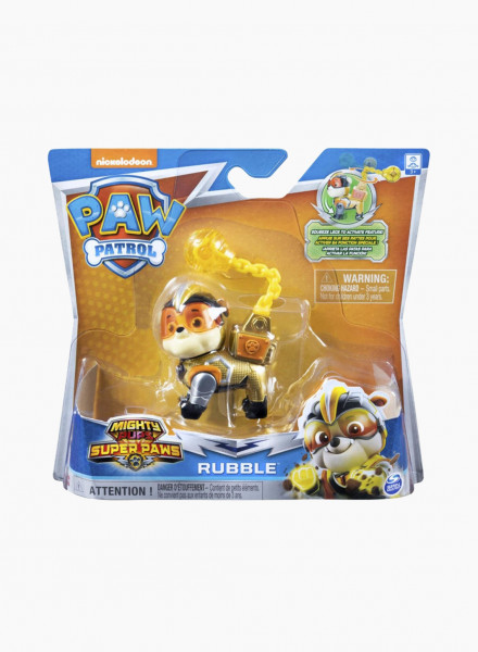 "Cartoon Character Figurine Paw Patrol ""Mighty Pups: Rubble"""