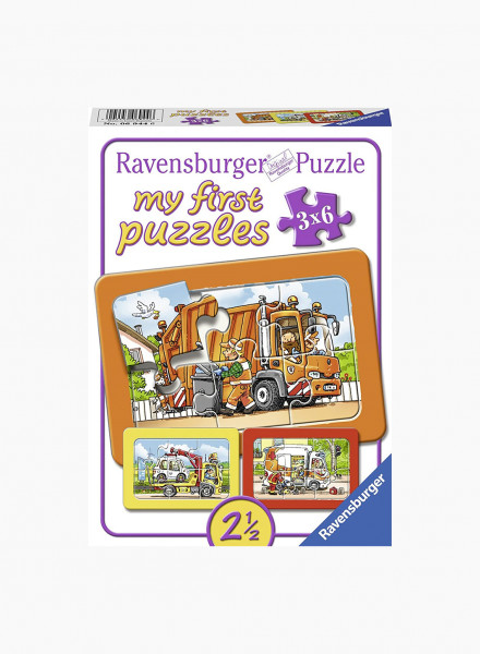 "Puzzle ""Rubbish Removal, Ambulance, Tow Truck"" 3x6p"