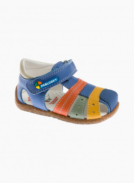 Baby sandals with multicolored straps