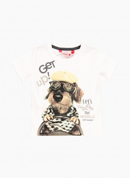 """Short sleeved t-shirt with print and """"Get up! Let's explore the world with Boboli"""" lettering"""