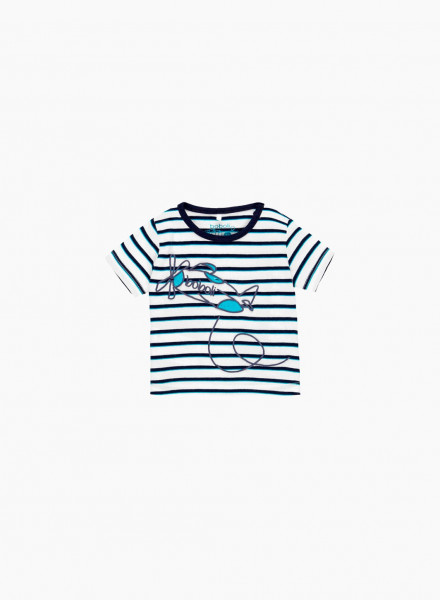Striped t-shirt with print