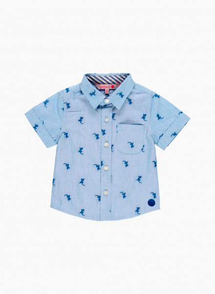 Shirt with embroidered lizard