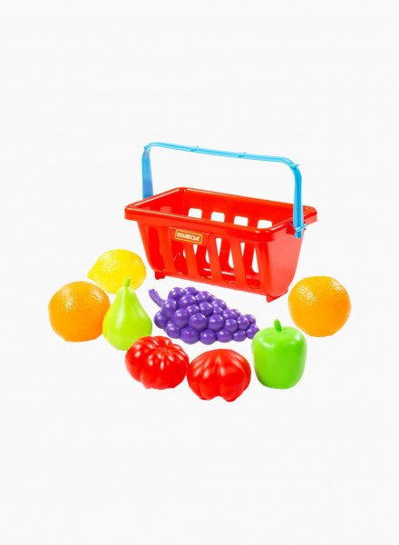 Food Set and Basket, 9 pieces