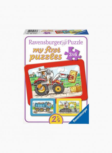 """Puzzle """"Excavator, Tractor, Dumper Truck"""" 3x6p"""