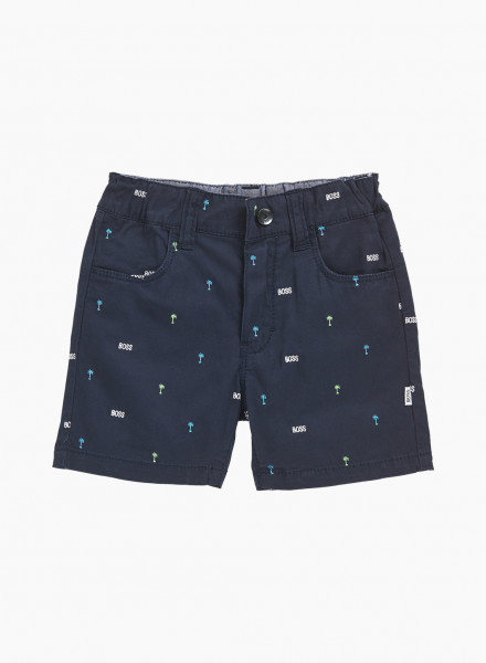 Kids Shorts with Palm-tree Motif and Logos