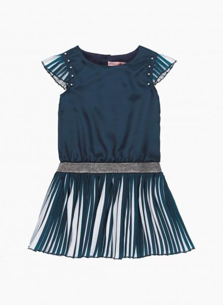 Combined dress with shiny waist