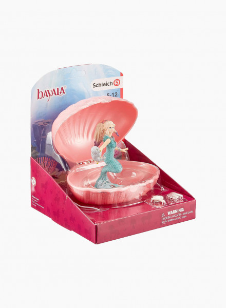 """Figurine """"Mermaid with baby seal in shell"""""""
