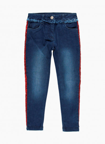 Denim trousers with shiny side stripes